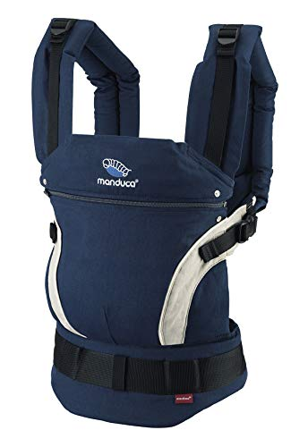 manduca First Baby Carrier > HempCotton navy < Babytrage aus weichem Canvas (Hanf & Bio-Baumwolle) Rückenverlängerung & Ergonomischer Hüftgurt, Bauchtrage, Hüft- und Rückentrage (3,5-20kg) blau