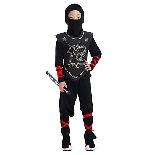BaronHong Kinder Ninja Dragon Kung Fu Kostüm Maske Ninja Warrior Outfit Cosplay (golden, - Golden Dragon Ninja Kostüm