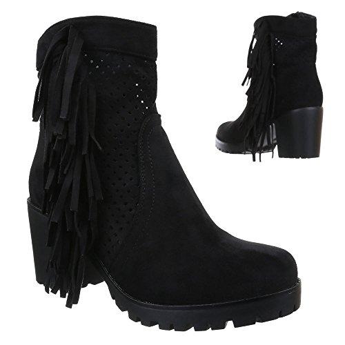 Damen Schuhe, 51112-PG, STIEFELETTEN PERFORIERTE WESTERN LOOK COWBOY STIEFEL BLOCKABSATZ Schwarz