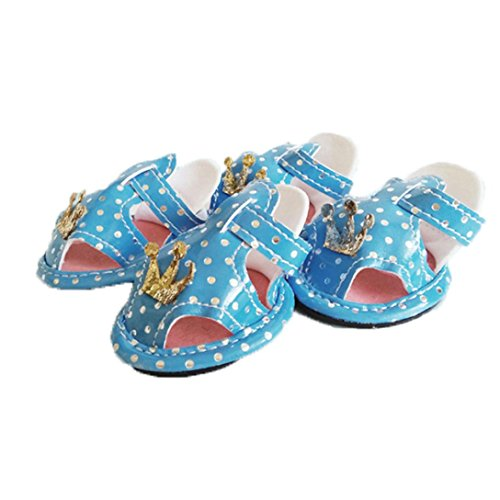 Dog Summer Shoes Breathable Puppy Shoes Dog Sandals Crown Leopard Atmungsaktiv Haustier Sandalen PU Gedruckt Anti-Rutsch Hund Schuhe 4 Set Dogs Paw Protectors Shoes (Blau Tuxedo Kostüme Shirt)