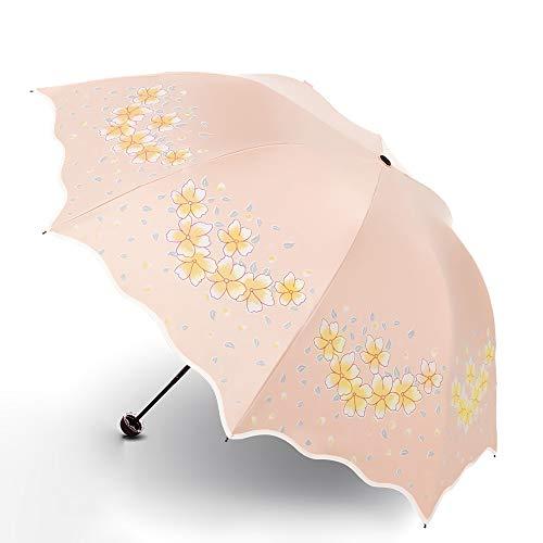 Jian E Umbrella Umbrella Female Sonnenschirm mit doppeltem Verwendungszweck Sonnenschutz UV-Kunststoff-Faltender dreifacher Regenschirm (Farbe : Orange) -