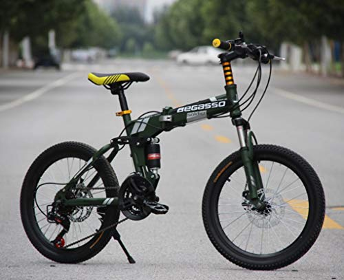 Hycy Bicicleta De Montaña Totalmente Amortiguada, Frenos De Disco De 20 Pulgadas, Bicicleta De Montaña Plegable, Una Rueda, Cambio De Bicicleta,Green