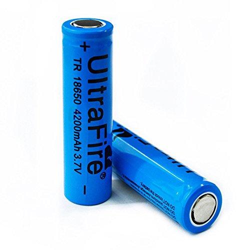 Galleria fotografica CursOnline® Pile Ultrafire - 2 batterie ricaricabili con PCB 18650 4200mAh 3,7 V Li-ion Testa Piatta per lampade torcia con Circuito di Protezione al Litio