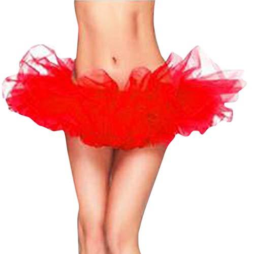 CUTUDE Damen Tütü Rock Minirock 5 Lagen Petticoat Tanzkleid Dehnbaren Mini Skater Tutu Rock Erwachsene Ballettrock Tüllrock für Party Halloween Kostüme Tanze (Rot, X-Large)
