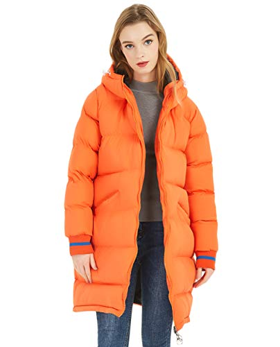 SUNDAY ROSE Damen Kapuzenpullover Jacken lang gesteppt Puffy Coats - Orange - Groß