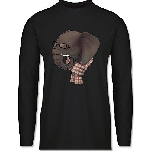 Hipster - Hipster Elefant - Longsleeve / langärmeliges T-Shirt für Herren Schwarz