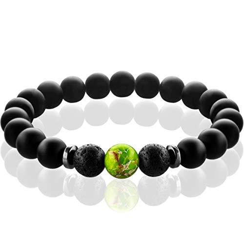 FABACH SpiritualsTM Chakra Perlenarmband mit 8mm Imperial-Perle, Lavastein und Onyx-Naturstein (schwarz) - Yoga Armband aus 21 Heilsteinen - Energiearmband für Damen und Herren