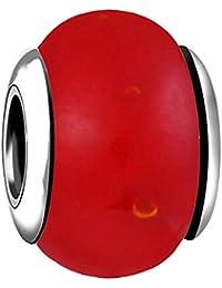 AKKi jewelry Charms Murano Glas Anhänger für Armband Kette in Edelstahl Zirkonia Silber Karma,Pandora kompatibel