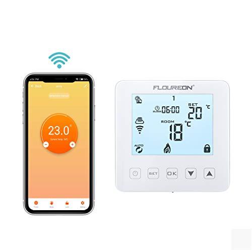 Wifi Raumthermostat digital Thermostat programmierbar Raumtemperaturregler für Wasser Fussbodenheizung Gaskessel Heizung Wandheizung Wandthermostat mit großer LCD-Bildschirm 3A Weiß