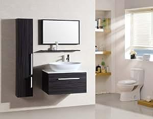 Ensemble salle de bain Saint Tropez Wengé - M-70110B/926 - miroir - étagère suspendue - vasque - meuble sous vasque