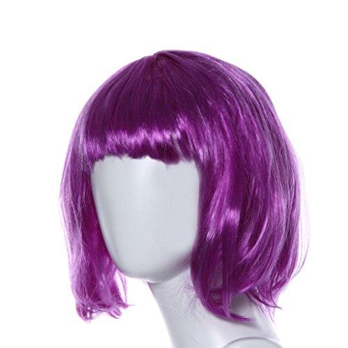 HARRRYSTORE Frische Farbe Kleine Roll Bang Kurze gerade Haar Perücke für Maskerade (Indische Perücke Kostüme)