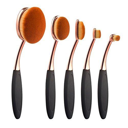 Summifit 5 Pcs Soft Oval Makeup Brushes Set Foundation Contour Concealer Makeup Brush Kit (Black Rose Gold) by Summifit