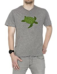 Tortuga Hombre Camiseta V-Cuello Gris Manga Corta Todos Los Tamaños Men's T-Shirt V-Neck Grey All Sizes