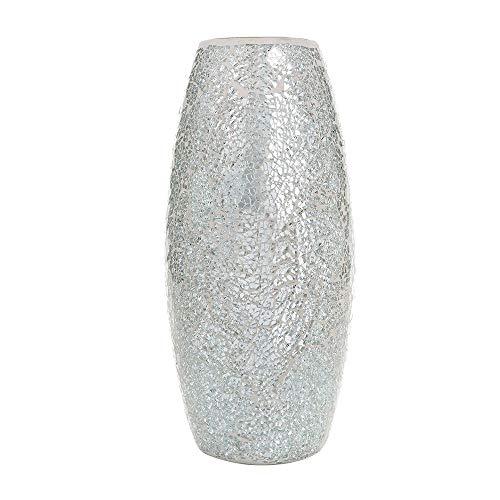 London boutique vaso per fiori fatto a mano mosaico glitter vaso decorativo in vetro scintillante regalo (argento)