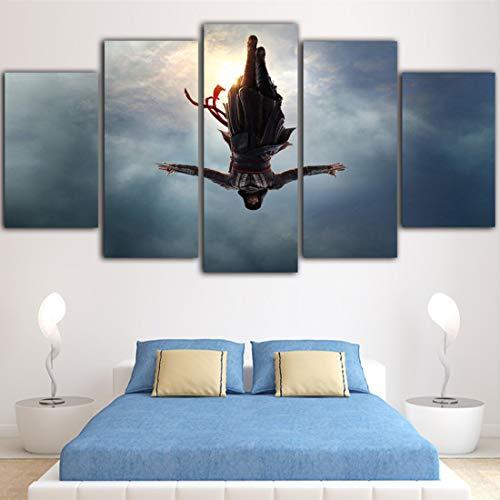 Angel&H Wandkunst HD Druckt Assassins Creed 5 Panels Segeltuch Gemälde Spiel Plakate Kinder Zimmer Dekor Hintergrund Bilder,B,20x30x2+20x50x1+20x40x2