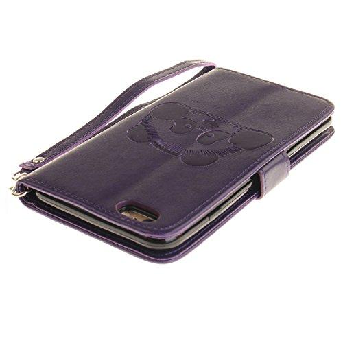 PU für Apple iPhone 6 (4.7 Zoll) Hülle, Prägen Panda Handyhülle / Tasche / Cover / Case für das Apple iPhone 6 (4.7 Zoll) PU Leder Flip Cover Leder Hülle Kunstleder Folio Schutzhülle Wallet Tasche Etu 4
