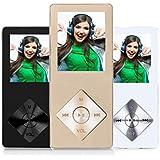 Peficecy Metall MP3-Player, 8GB Hi-Fi Sound 30 Stunden Playback Musik-Player, Eingebaute Lautsprecher, Support Expandable bis zu 32 GB (P08-gold)