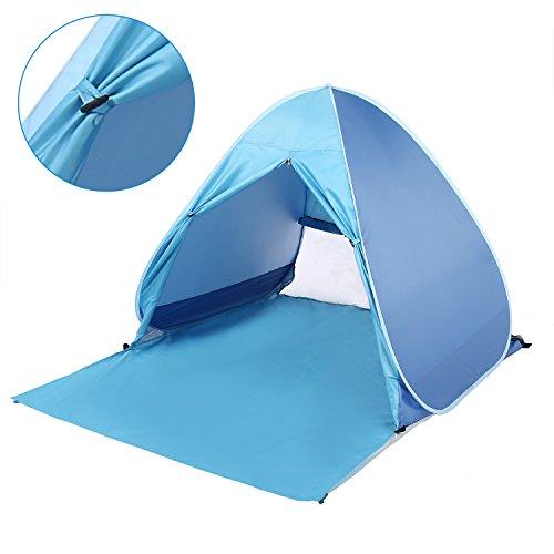 YUEBO Strandmuschel Strandzelt 2-3 Personen Automatische Instant Pop up Zelt mit Vorhang, Boden Sonnenschutz UV Schutz, Familie Tragbar Outdoor Beach Tent