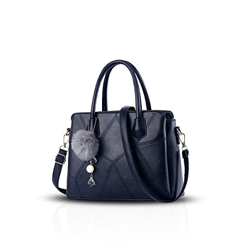 NICOLE&DORIS Mode Frauen Crossbody Handtasche Commuter Tasche Schultertasche PU Blau Blau