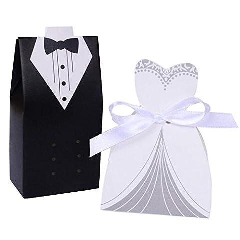 SUMERSHA Pralinenschachtel Süßigkeiten in Form Tuxedo Schwanz Cod Zeremonie für , die Brautgeschenk 100pcs