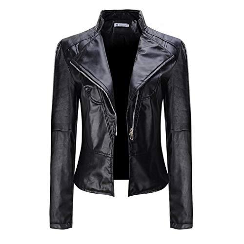 swiftt Damen Jacke Kunstlederjacke Bomberjacke Motorrad Biker Leder Revers Oberteile Mantel Outwear