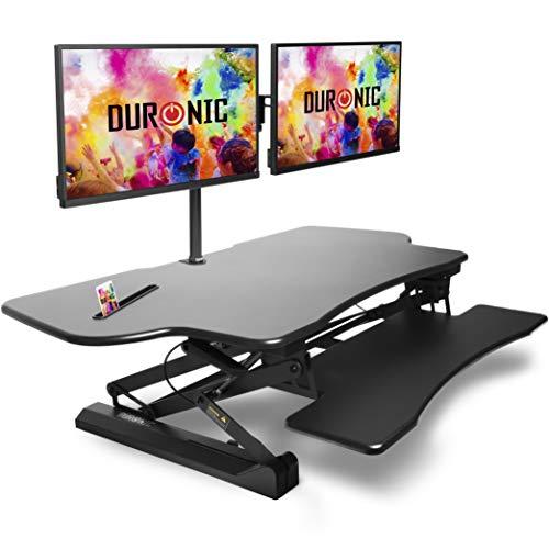 Duronic DM05D4 Workstation | Sitz-Steh Schreibtisch | Monitorhalterung | Stehpult | Computertisch | 120 cm Stand-Up Arbeitsplatz für Monitor | Tastatur | Maus | Notizen - Höhenverstellbar 15-50 cm