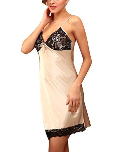 BININBOX Damen Sexy Elegant Nachthemd aus Seide Nachtkleid Nachtwäsche Negligee in 3 Farben Kamel