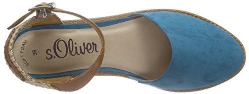 s.Oliver 24627, Sandales ouvertes femme Bleu - Blau (AQUA 808)