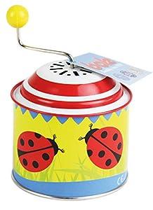 Bolz 52762 - Caja de música con diseño de Mariquita, Aprox. 10,5 x 7,5 cm, Lata giratoria con melodía de la Primavera, Bote Giratorio de Metal, ángel Giratorio para niños a Partir de 18 m