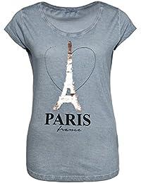 SUBLEVEL Damen T-Shirt mit Wendepailletten PARIS   Elegantes Basic Shirt aus hochwertigem Jersey Material