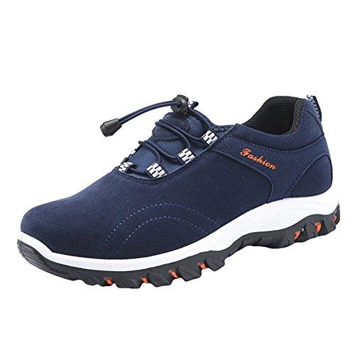 Hibote Hombres Trekking Al Aire Libre Zapatos Corredores Zapatilla de Deporte Ligero Botas Para Caminar Zapatos Para Correr Zapatos Deportivos con Cordones Azul, Amarillo, Negro, Gris 39-44