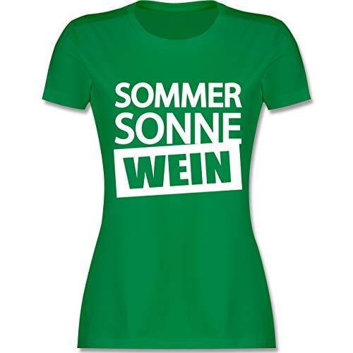 Wein-grünes T-shirt (Festival - Sommer Sonne Wein - M - Grün - L191 - Damen Tshirt und Frauen T-Shirt)
