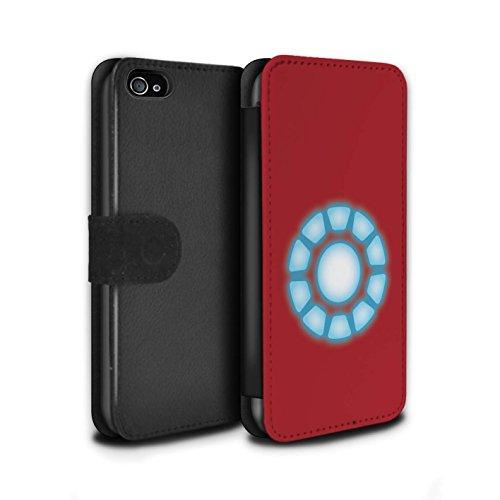 Stuff4® PU-Leder Hülle/Case/Tasche/Cover für Apple iPhone 4/4S / Reaktorkern Muster/Superheld Comic-Kunst Kollektion (Fälle Marvel-comic-iphone 4)