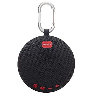 Pollix - Mini Mobiler Tragbarer Bluetooth Lautsprecher Box Outdoor Kabellose Speaker mit Karabiner, SD Karte, Q Motion, Freisprechfunktion, 10 Stunden Spielzeit u 30 Meter Bluetooth Reichweite