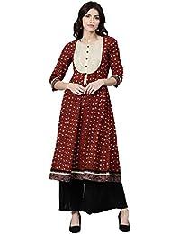 Jaipur Kurti Women Rust Ethnic Motifs A-Line Cotton Slub Kurta