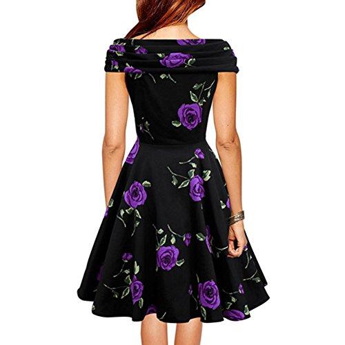 VKStar® A-Linie V-Ausschnitt Sommer Vintage 1950s Klassisch Damen Kurz Arm Blumen Muster Kleid Audrey Hepburn Style Rockabilly Swing Abendkleid Cocktail Partykleid Violett