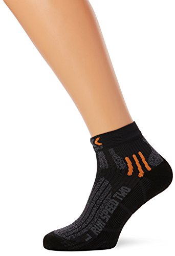 Herren Kurze Wirkung (X-Socks Erwachsene Funktionssocken Run Speed Two, Black/Grey Moulinè, 42/44, X020432)
