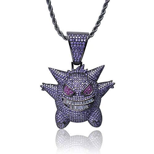 stall Halskette, Unisex Exquisite Bubble Gengar Anhänger Halskette 18 Karat Vergoldet mit 24