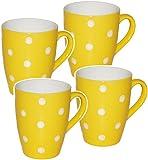 alles-meine.de GmbH 4 Stück _ Kaffeetassen / Henkeltassen -  Punkte - GELB & weiß  - groß - 300 ml - Keramik / Porzellan - Teetasse - Mikrowellengeeignet - Trinktasse mit Henke..