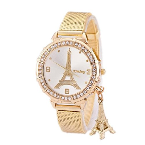Yogogo Damen Turm Gold Edelstahl Mesh Band Armbanduhr , 1 Cent Artikel (Gold)