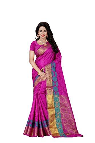 Vatsla Enterprise Women\'s Cotton silk Saree (VAAITRSALVAAT_MAJANTA)