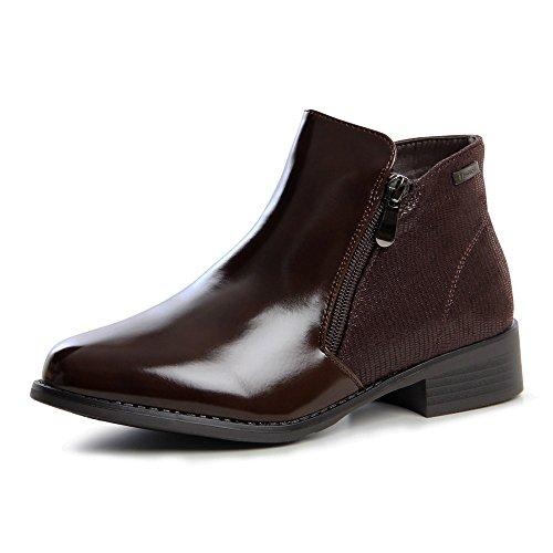 Topschuhe24 627 boots bottines femme chelsea Marron - Marron