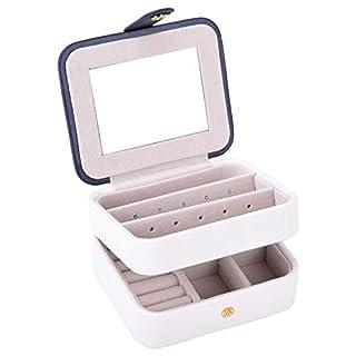 Autoark Kleine Schmuckschatulle aus Leder mit integriertem Spiegel, Make-up und Zubehör Aufbewahrungstasche, Geschenk für Mädchen und Frauen weiß