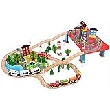 SXZHSM-Juguete de Desarrollo Intelectual Bricolaje De Madera Ensamblado 88 Piezas para Niños De Madera Maciza Vía Tren Pequeño Juego De Juguete