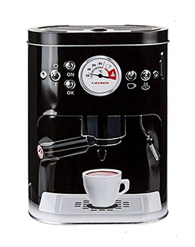 Kaffeedose Prägung Espressomaschine Retro Look Kaffee Vorratsdose Blechdose Metall-Dose Schwarz