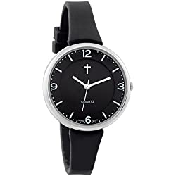 Belief Women's | Sporty Black Face Black Silicon Band Watch with Cross Logo| BF9659BK