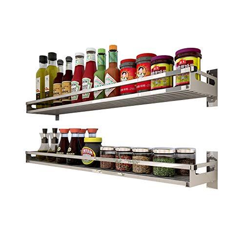 Küchenregal 304 Edelstahl Küchenregal Wandhalterung Free Punch Wand Lagerung Anhänger Gewürz liefert Regal (Größe : 80cm) -
