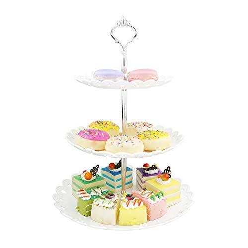 Hetoco Weiß 3-stöckig Gebäck Muffin Obst Kunststoff Kuchenständer Etagere Dessert ständer Display Servierständer Cupcake Ständer für Party, Geburtstag, Hochzeit, Weihnachten -Groß