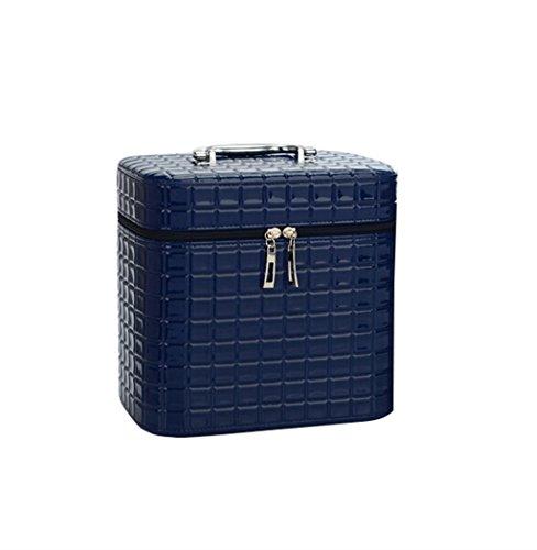 Borse personalizzate Cosmetic Bag Piazza professionale di grande capienza Cosmetici valigetta portatile impermeabile stoccaggio cosmetici box signore Bag (con lo specchio) pratico ( colore : Blu , dimensioni : S. )