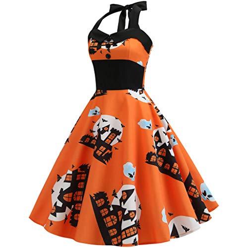 MasteriOne Damen Kleid aus Kürbis Sommer vielseitig Rock Print O-Neck Mini Dress Bedrucktes Halloween Verkleidungs Kleid für Party Cocktail Kostüm Cosplay